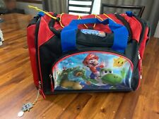 Nintendo Super Mario Duffel Bag Red Black Nylon Shoulder Strap 17x11x11in