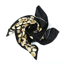 Large Square Silk Twill Scarf Black Theme Flower Print XWC686