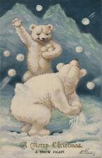 1904 Christmas Art~Cute Polar Bears Having Snowball Fight~NEW Note Cards