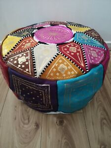 Moroccan pouffe Genuine Leather Footstool Multicoloured poufe pouf New