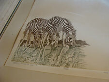 framed signed print by Marie Lim 1978, Sparkling animals of light + embossed