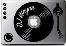 STICKER for MAC GIRADISCHI PERSONALIZZATO DJ, ADESIVI MAC MACBOOK PRO AIR