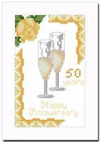 GOLDEN (50) WEDDING ANNIVERSARY CROSS STITCH CARD KIT