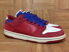 VTG🔥 Nike Dunk Low PRO SB Varsity Red Royal White USA Sz 10 304292-661 SICK!
