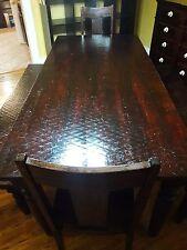 Large Mahogany Farmhouse Table Set, $600