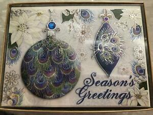 Punch Studio Embellished Holiday Christmas Peacock Ornament 3d Jeweled Set 15