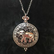 Long Silver Lucky Elephant Magnifier Necklace~Rain Fashion Jewelry Collection