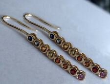 E048S8 Genuine 9K Yellow Gold NATURAL Fancy Sapphire Journey Earrings Rainbow
