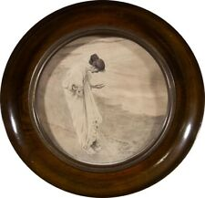Framed Early 20th Century Graphite Drawing - On the Beach