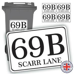 4 x Wheelie Bin Waterproof Stickers Sign Address Numbers Street Road House Name