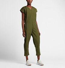 WOMENS NIKE BONDED JUMPSUIT SIZE M / L (835551 331) LODEN GREEN / BLACK