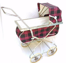 Mid Century Coronet Baby Buggy Carriage Stroller Pram Toy Black Pink Plaid VTG