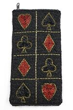 POKER Heart Spade Club Diamond Black Red Beaded Symbol Sunglasses Pouch Case