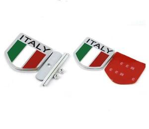 Italy IT Flag Chrome Metal Front Grille Grill Emblem Badge For Fiat Ferrari Alfa
