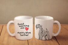 """Kerry Blue Terrier - ceramic cup, mug """"Good morning and love"""", Usa"""