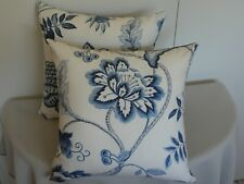 Blue White Embroidered Look Floral Leaf Print Cushion Cover 45cm Au Made