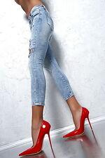 1969 ITALY LACK LEDER HOHE Damen D68 Pumps Schuhe High Heels Übergröße Leather