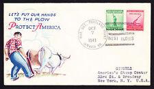 1941 EE. UU. Patriótico cubierta con Portland la bahía Jamaica West Indies MATASELLOS a NY