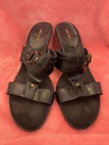 B12 NINE WEST Women Slip On Size 11 M heel Sandal shoes in Black Jawdropzu