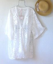 New~Ivory White Crochet Lace Cardigan Kimono Duster Boho Top~Size Medium M L