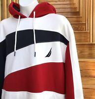 new $59 NAUTICA HOODIE white red navy blue SEWN LOGO plush sweatshirt MEN MEDIUM