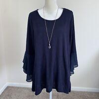 JM Collection Women's Plus Size 2X Dark Blue Textured Sweatshirt Sweater N163