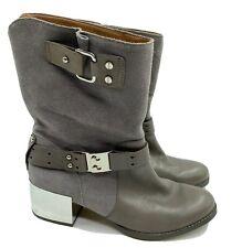 Daniblack Boots Womens 6 M Gray Suede Zipper Ankle Reflective Block Moto Heels