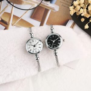 Charm 4mm Wire Stainless Steel Watchband Bracelet Women Lady Quartz Wrist Watch