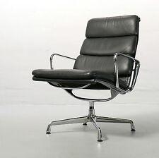 Vitra SOFT PAD Chair EA 215 Eames, Herman Miller, Vitra, PELLE NERO POLTRONA,