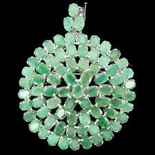Sterling Silver 925 Huge Genuine Natural Emerald Round Design Brooch / Pendant