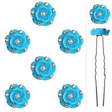 6 épingles pics cheveux chignon mariage mariée fleurs bleu clair cristal blanc