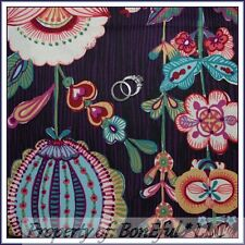 BonEful Fabric FQ Cotton Quilt VTG Purple Pink Green Large Flower Leaf US Stripe