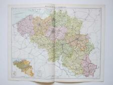 1920 Map Belgium & Luxemburg Large Colour Map Gross