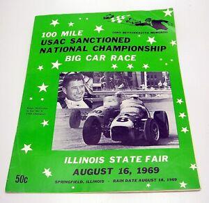 Vintage 1969 Tony Bettenhausen Memorial USAC Illinois State Fair Race Program