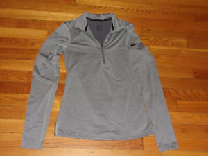 NIKE DRI-FIT 1/2 ZIP LONG SLEEVE GRAY PULLOVER JERSEY WOMENS SMALL EXCELLENT