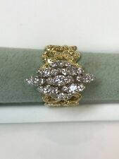 Hand & Anniversary Ring With Diamond 14 Kt Yellow Gold Hand Made Right