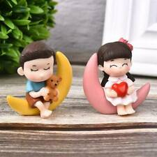 2Pcs Moon Couple Romantic Figurines Craft Ornaments Bonsai Home Decorations_