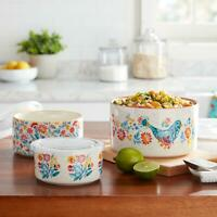 The Pioneer Woman Mazie 6-Piece Round Ceramic Nesting Bowl Set With Lid