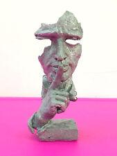 silvery Face Sculpture Statue Abstract Modern Art Deco
