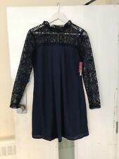 Asos Elise Ryan High Neck Swing Dress with Lace Navy Size 8 NEW Skater