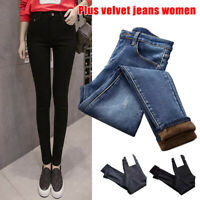 Women High Waist Stretchy Thermal Jeans Trousers Skinny Pants