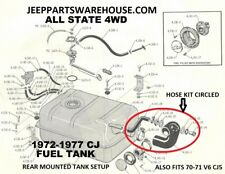 JEEP CJ5 CJ6 1970 - 1975 FUEL FILL AND VENT HOSE KIT NEW WITH CLAMPS & ADAPTER