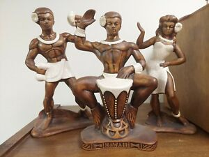 Treasure Craft Hawaii Hula Tiki Hut Figurines Three (3) REPAIRED Foil Label