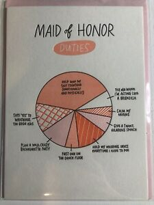 Maid Of Honor Duties Greeting Card Invitation Announcment Pink Wedding Funny