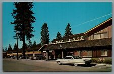 Postcard South Lake Tahoe CA c1960s Holiday Lodge Indoor Outdoor Heated Swimming