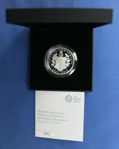 """2018 Silver Proof £5 Crown coin """"Sapphire Anniversary"""" in Case with COA"""