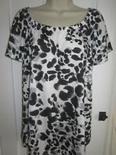 Ladies size 16 George white with black grey summer tunic top short sleeves