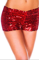 Shiny Women's Mini Sequin Casual Night Elastic Pants Bottoming Shorts Size 8-14