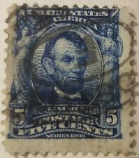 Very rare offset 5 cent abraham lincoln sc#304 used blue 1902-1903 (lot-K415)