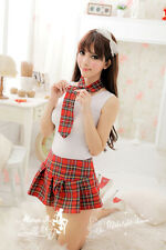 Sexy Student Girl School Uniform w/Red Plaid Skirt Costume for Cosplay Party NEW